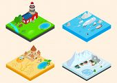 Diverse Climate Clip Art Set. Isometric Clip Art Of Diverse Climate Concept Icons For Web Isolated O poster