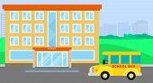 School Bus Arriving Background. Flat Illustration Of School Bus Arriving Background For Web Design poster