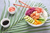 Fresh Seafood Recipe. Organic Food. Fresh Salmon Poke Bowl With Crystal Noodles, Fresh Red Cabbage,  poster