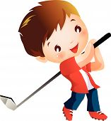 picture of gilf  - A boy playing a Golf with gilf stick - JPG