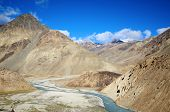 stock photo of manali-leh road  - River valley in Ladakh on Leh - JPG