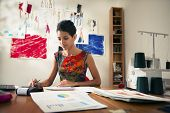 stock photo of self-employment  - Money and financial planning young hispanic self - JPG
