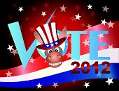 stock photo of jackass  - Vote Check Mark Text 2012 Democrat with Donkey Jackass and US Flag Background - JPG