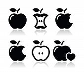 Apple, Apple Core, gebissen, halben Vektor-icons