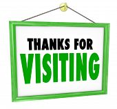 picture of bye  - Thanks For Visiting hanging sign for a store to thank - JPG