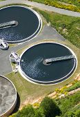 pic of wastewater  - Areial view of wastewater purification works bassins in France - JPG