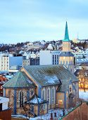 stock photo of tromso  - Aerial view of Tromso Cathedral Church in Troms Norway at dusk twilight - JPG