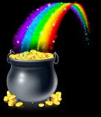 picture of pot gold  - A cauldron or a pot full of gold coins at the end of the rainbow - JPG