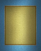 gold background with a blue ribbon on the edges
