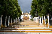picture of luminaria  - A Christian Catholic chapel on a hill with colorful steps in San Cristobal de las Casas Chiapas Mexico - JPG
