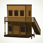 Wooden Two-story Light Brown House For The Town In The Wild West