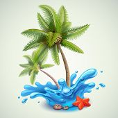 foto of hot water  - Water splash with palms vector illustration on background - JPG