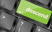 stock photo of descending  - descend button on computer pc keyboard key - JPG
