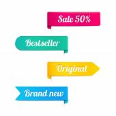 pic of 50s  - Four colorful vector ribbons or banners for a retail store in magenta  yellow  cyan and blue with the text  - JPG