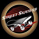 pic of skate board  - Skateboard in circle logo design on black background - JPG