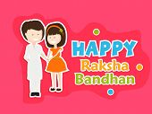 foto of rakhi  - Beautiful greeting card design with cute little girl tying rakhi on her brother hand on pink background for the festival of Raksha Bandhan celebrations - JPG