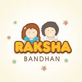stock photo of rakshabandhan  - Beautiful greeting card design for Happy Raksha Bandhan celebrations with happy cute little brother and sister on stars decorated beige background - JPG