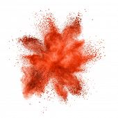 picture of smog  - Red powder explosion isolated on white background - JPG