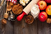 picture of ingredient  - Ingredients for apple pie cooking - JPG