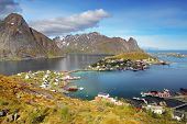 pic of lofoten  - Norway village in sea Lofoten at a day - JPG