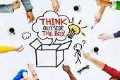 image of thinking  - Hands on Whiteboard with Think Outside the Box Concepts - JPG