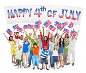 stock photo of independent woman  - Diverse Cheerful People Celebrating Independence Day - JPG