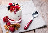 image of yogurt  - Healthy breakfast yogurt with granola and berries in the glass on the wooden table - JPG