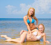 image of denude  - In Bikini on a Beach Enjoying  - JPG