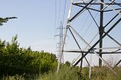 image of utility pole  - high voltage pole photographed close - JPG