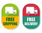 stock photo of free-trade  - free shipping and delivery with truck symbol two elliptic flat design labels with icons business transportation concept - JPG