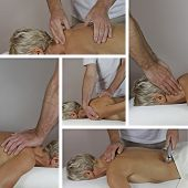 stock photo of deep-tissue  - Five different techniques of Sports Massage performed by male therapist working on mature female client in prone position on couch - JPG