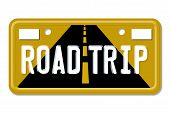 stock photo of road trip  - Road Trip The words Road Trip on a yellow license plate isolated on white - JPG