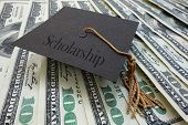 pic of graduation  - Mini graduation mortar board with Scholarship text on money - JPG
