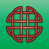 image of triquetra  - Celtic endless knot red on a green background - JPG
