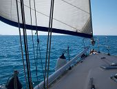 foto of yacht  - Yacht sailboat sailing Sailboat in the blue ocean great yachting vacation - JPG