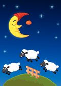 picture of counting sheep  - illustration of Three sheep jumping over the fence - JPG