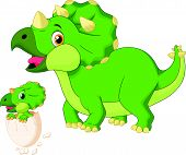 picture of terrific  - illustration of Mother triceratops with baby hatching - JPG