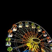 foto of carnival ride  - Carnival Ride isolated over night sky background - JPG