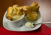 foto of cream puff  - The filling is a sweet little puffs composed of a shell of choux pastry filled with cream - JPG