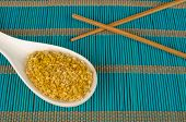image of citronella  - Dehydrated lemon grass on a traditional bamboo mat - JPG
