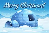 picture of igloo  - Illustration of snow falling over an igloo - JPG