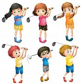 image of ladies golf  - Six adorable kids playing golf on a white background  - JPG