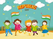 stock photo of indian flag  - Cute little kids celebrating Happy Indian Republic Day with Indian National Flags on urban background - JPG