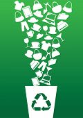 foto of ironic  - Vector illustration of different consumer products going into recycle bin - JPG