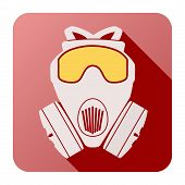image of respiration  - Flat icon of gas mask respirator - JPG