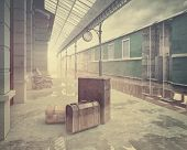 picture of fog  - fog on the retro railway  train station  - JPG