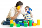 picture of cell block  - father and kid boy role-playing together isolated