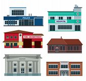 stock photo of fire-station  - City departments buildings infographic - JPG