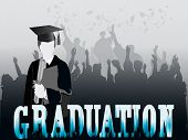 stock photo of congrats  - Graduates in silhouette with congrats and mortars flying - JPG