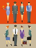 foto of flight attendant  - Flight team captain and attendants in different poses - JPG